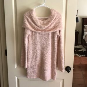 Shell pink off the shoulder sweater